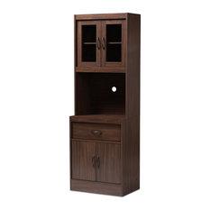 Baxton Studio Laurana Kitchen Cabinet and Hutch in Dark Walnut