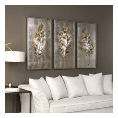 "Uttermost ""Champagne Leaves"" 3-Piece Modern Art Set, 20.63""x40.63"""