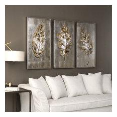 "Uttermost ""Champagne Leaves"" 3-Piece Modern Art Set, 20.63""x40.63"""