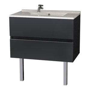 Rosaly Bathroom Vanity Unit, 80 cm, Grey With Legs