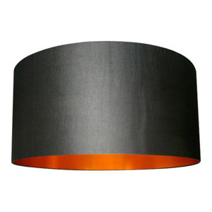 Fabric Lampshade, Gunmetal and Brushed Copper, 40x23 cm