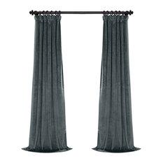 """Heritage Plush Velvet Single Curtain, Single Panel, London Blue, 50""""x108"""""""