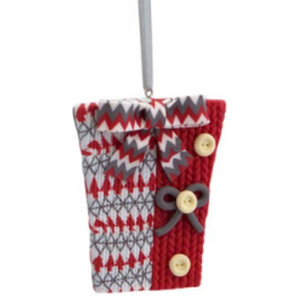 """3.25"""" Alpine Chic Red  White and Gray Knit Style Gift Box Christmas Ornament"""