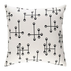 Surya Modern Cotton White and Black Accent Pillow, 18  x18