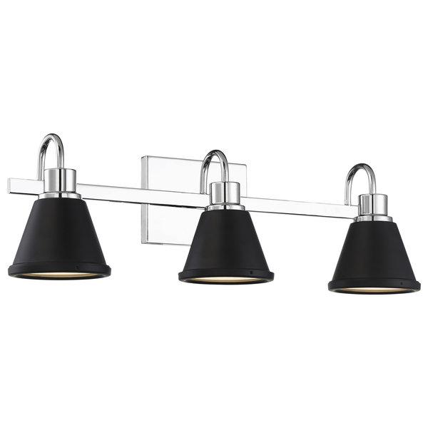 Nuvo Bette 3-Light LED Polished Nickel Matte Black Wall Mount
