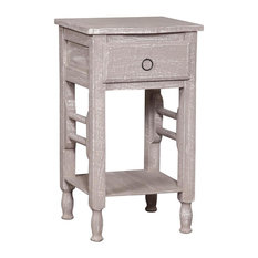 Solid Wood Shabby Bedside Table, Grey