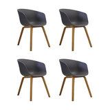 Danish Style Dining Arm Chair, Natural Legs, Charcoal Grey, Set of 4