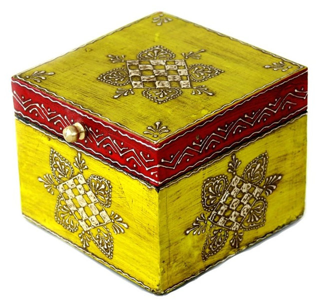 Wooden Hand Painted Jewelry Box in Yellow and Dark Red Asian