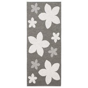 Flower Woven Vinyl Floor Cloth, Grey, 150x250 cm