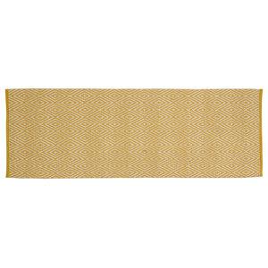 Handwoven Mustard Diamonds Cotton Rug, 70x200 Cm