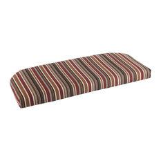 "Sunbrella Wicker Bench Cushion, Brannon Redwood, 43.5""x19.5""x2.5"""