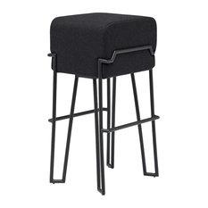 Bokk Folding Bar Stool With Black Metal Base and Felt Seat, Black