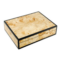 Lacquer Long Stationery Box Box, Mappa Burl