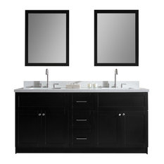 "Atlas International, Inc. - Ariel Hamlet 73"" Double Sink Vanity Set, White Quartz Countertop, Black - Bathroom Vanities and Sink Consoles"