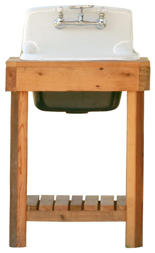 Reclaimed Wood Utility Farm Sink Stand Cast Iron Sink Stand Package Hague  Blue · More Info