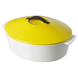Ideal Contemporary Dutch Ovens And Casseroles Revol Revolution Oval Cocotte With Lid White Seychelles Yellow