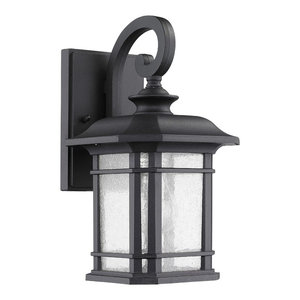 """Franklin Transitional 1-Light Black Outdoor Wall Sconce 12"""" Height"""