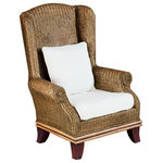 Padma's Plantation - Bali Wing Chair - Our trademark Bali collection has been a best seller since the inception of Padma's Plantation. The classic shape of the Bali Wing Chair blended with the natural textures and solid hardwood legs result in a look that brings home a taste of the tropics. It features rattan and rattan peel in a herringbone weave. Seats are hardwood corner blocked frames with elasticized fabric spring decks for extra comfort. Cushion and pillow covers are removeable for future recovering. Cushion and pillow are included in our base white fabric.