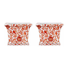 Set of 2 Orange and White Twisted Lotus Square Porcelain Flower Pots 6""
