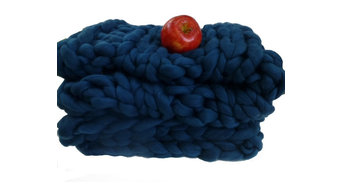 """Chunky Knit Blanket, Bluebell, 52"""" X 62"""""""