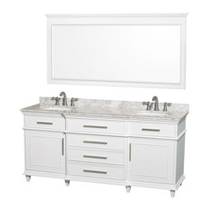 "Wyndham Collection 72"" Berkeley White Double Vanity and Carrera Marble Top"