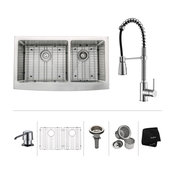 """36"""" Farmhouse Stainless Steel Kitchen Sink, Pull-Down Faucet CH, Dispenser"""