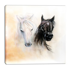 """Black and White Horse Heads"" Animal Canvas Print, 30""x30"""