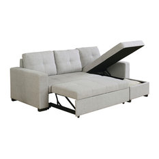 Charmant Coaster Fine Furniture   Linen Like Fabric Upholstered Sectional Sofa Bed  With Reversible Storage Chaise