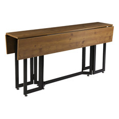 Driness Drop Leaf Console to Dining Table, Oak With Black