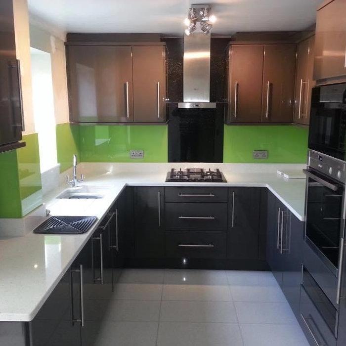 Kitchen with Lime Green Splashback