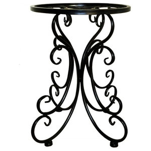 Traditional Stylish Plant Pot Stand, Strong Metal Flower Pattern Design, Black