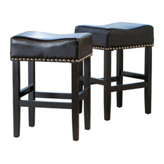 GDF Studio Chantal Leather Stools, Black, Counter Height, Set of 2