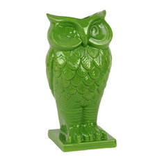 Ceramic Owl Vase, Lime Green