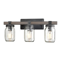 Mason Jar Glass Wall Sconce Distressed Bath Vanity Lights, 3-Light