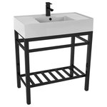"""Scarabeo - Modern Ceramic Console Sink With Counter Space and Matte Black Base, One Hole - This console bathroom sink is a perfect center piece for the modern style bathroom. Featuring a lower towel rack, this console stand is a perfect solution to keep your towels and other accessories tidy. Console stand is made of heavy duty stainless steel in a matte black finish. Beautiful 31.9"""" x 17.4"""" white ceramic sink with counter space on both side of the basin."""