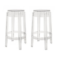 acrylic ghost stools set of 2 clear counter height bar stools