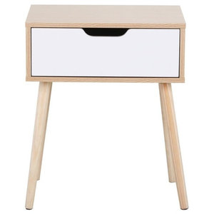 Bedside Table With Oak Finished Frame and White Storage Drawer, Modern Design