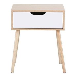 Bedside Table With Oak Finished Frame and White Storage Drawer, Modern Design