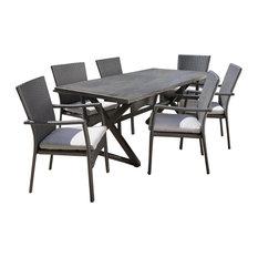 GDFStudio   Adelade Outdoor 7 Piece Aluminum Dining Set, Black, Gray    Outdoor