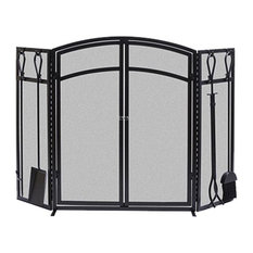 Panacea 15138 Arch Fireplace Screen With Doors And Tools Black Screens