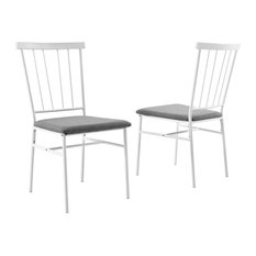Set Of 2 Dining Chairs White Metal Frame With Grey Seat Spindle Back