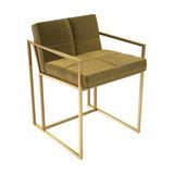 Federico Dining Chair, Mustard Velvet, Brass Frame