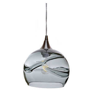 Swell Pendant Form No. 767, Gray Glass Shade, Brushed Nickel Hardware, 8W LED