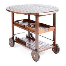 GDF Studio Tiller Outdoor Dark Acacia Wood Bar Cart With  Aluminum Accents