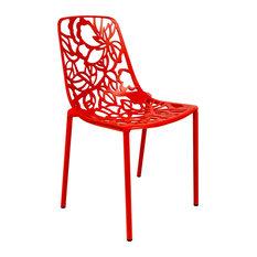 Leisuremod Modern Devon Aluminum Indoor Outdoor Dining Chair, Red