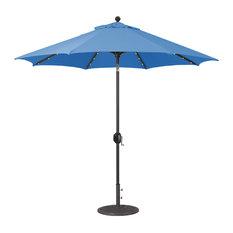 9' Auto Tilt Patio Umbrella With LED Lights, Pacific Blue