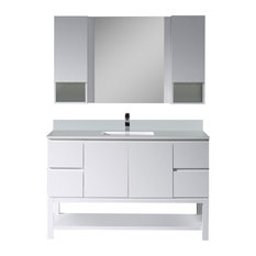 "Monaco 54"" Vanity Set With Mirror and Wall Cabinets, Matte White"