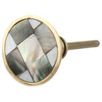 DaRosa Creations - Mother of Pearl Round Drawer Knob - This beautiful drawer knob has a gold brass metal base. On the top is a layer of mother of pearl in black and grey tones. This versatile drawer knob can be used in a modern or more classical decor.