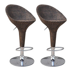HomCom Modern Rattan Wicker Adjustable Swivel Home Pub Bar Stool, Set of 2