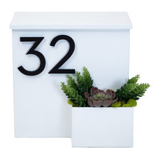 Greetings Wall Mounted Mailbox w/ House Numbers, White, With Numbers